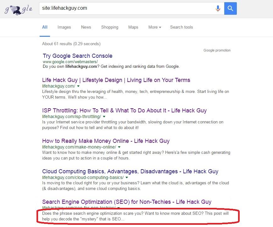 Description meta tag in Google